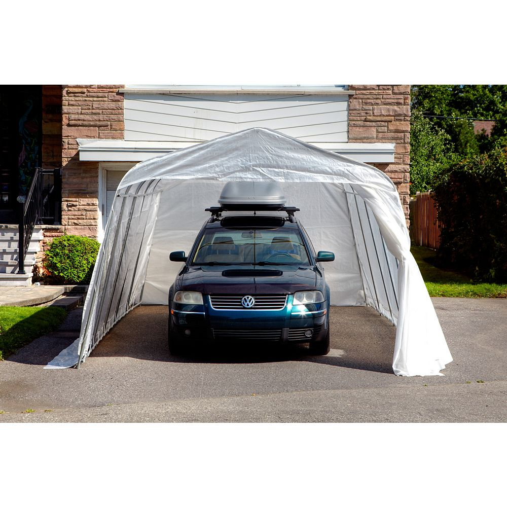 Gazebo Penguin Standard Round 11 ft. x 16 ft. Car Shelter with Clear Roof