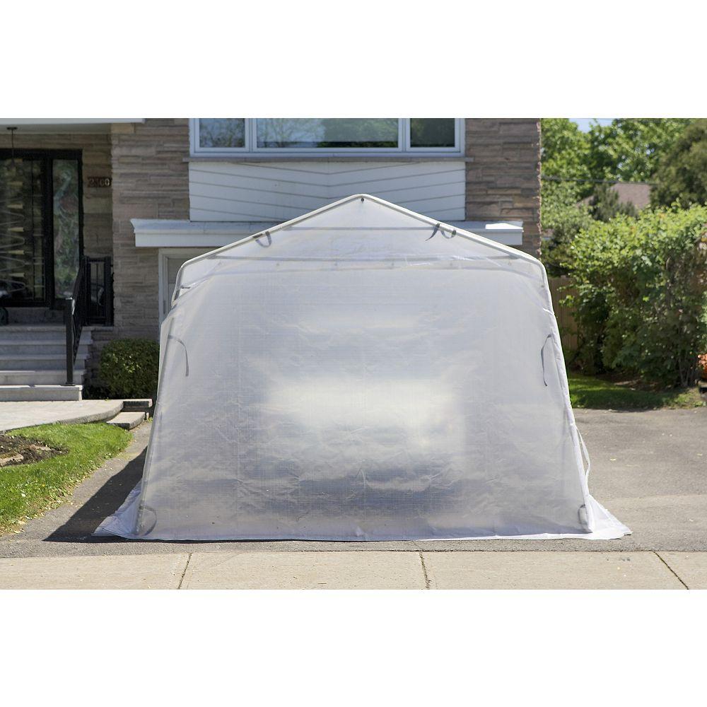 Gazebo Penguin Cougar 11 ft. x 19 ft. 6-inch Car Shelter with White Roof