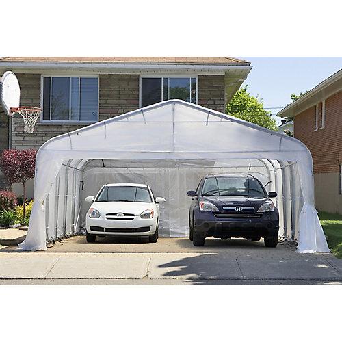 Abri d'auto double 16'x16' Toile blanche