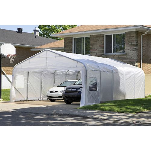 Oval 20 ft. x20 ft. Car Shelter with White Roof