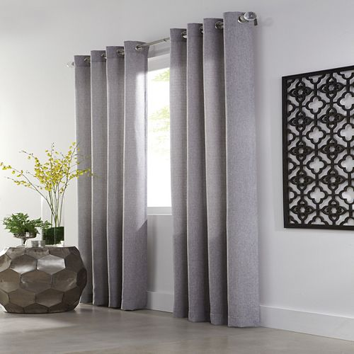 Home Decorators Collection Basketweave Light Filtering Grommet Curtain 54 inches width X 95 inches length Smoked Pearl Grey