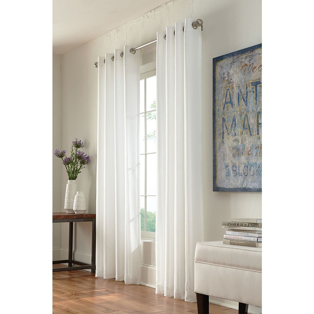 Home Decorators Collection Calisse Room Darkening Lined Grommet Curtain Voile 54 inches width X 95 inches length, Ivory