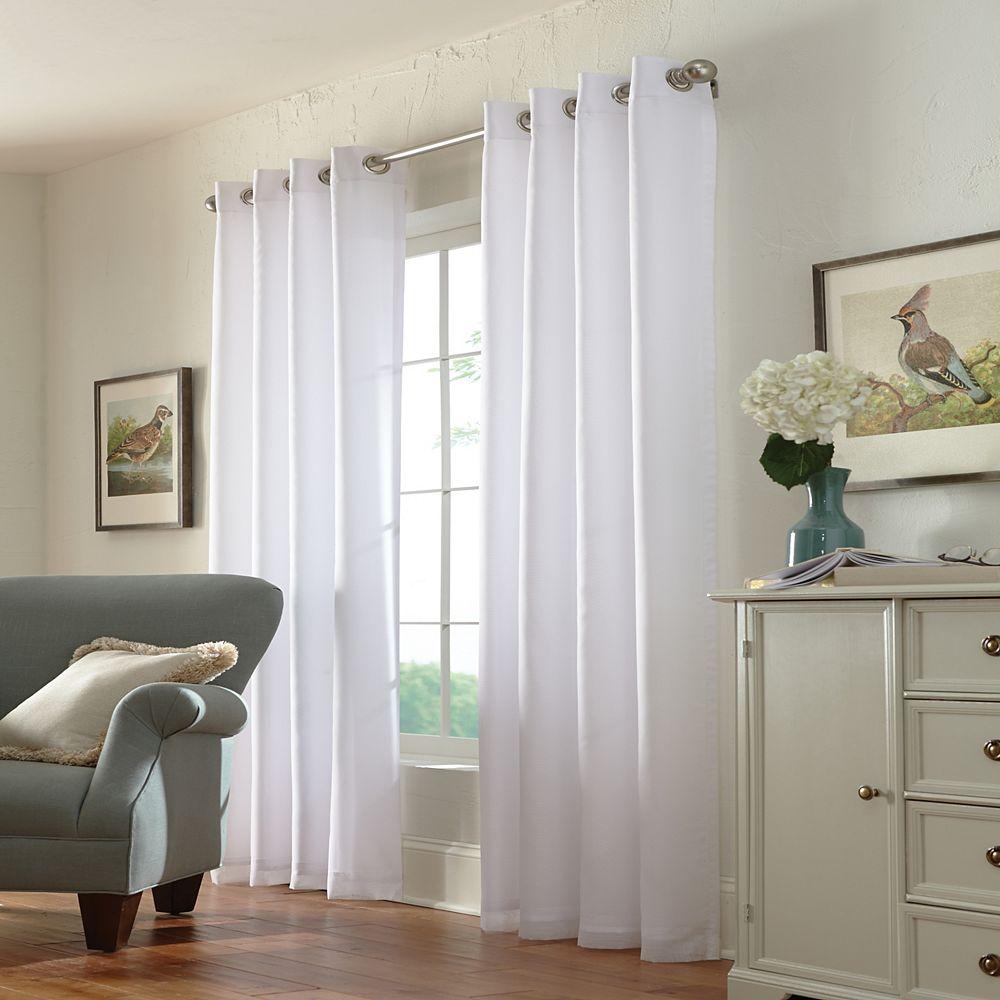 Home Decorators Collection Calisse Voile Doublé Assombrissant à Oeillets 54 pouces largeur X 95 pouces longueur, Blanc