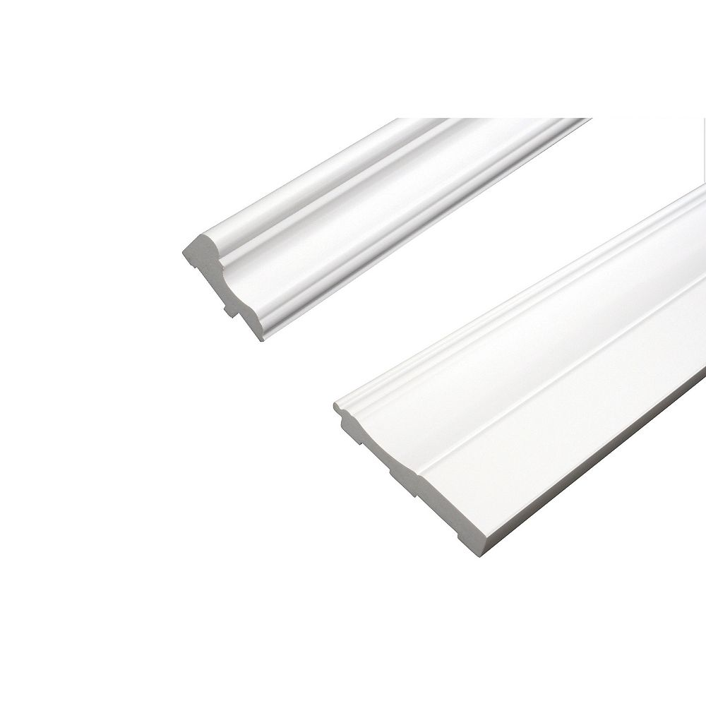 R2i Millwork Chair Rail & Baseboard Kit - Prefinished Ready to Install - Fauxwood White - 2 Pieces For 1/4 In. Wainscot Beadboard