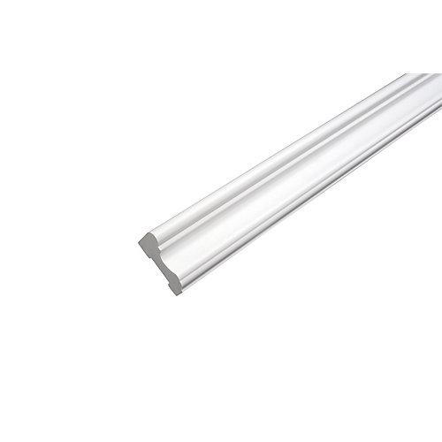 Cimaise - Prêt à installer - Fauxwood Blanc - 5/8 po. x 13/16 po. x 8 pi