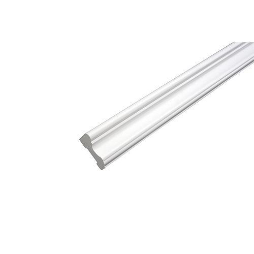 Cimaise - Prêt à installer - Fauxwood Blanc - 1-5/8 po. x 13/16 po. x 8 pi
