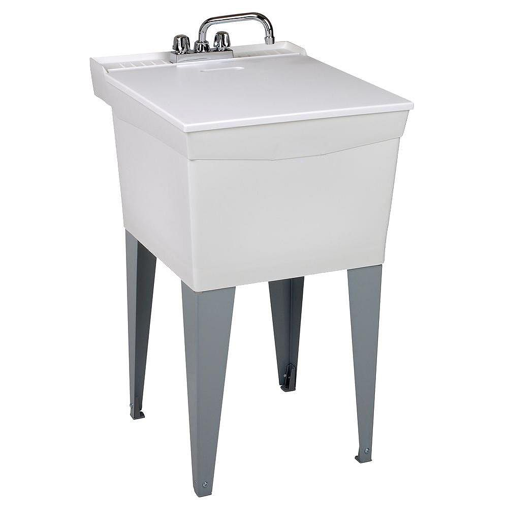MUSTEE Utilatub Combo Laundry Tub with Faucet, Supply Lines, P-Trap