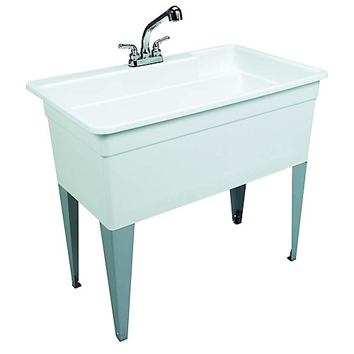 BigTub Laundry Tub Single with Faucet, Supply Line, P-Trap