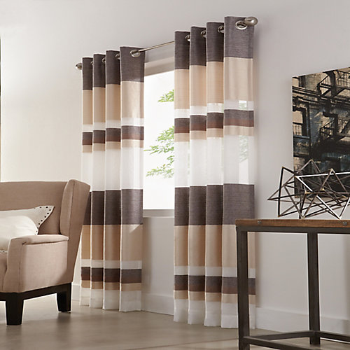 Talia Sheer Grommet Curtain 52 inches width X 84 inches length, Taupe