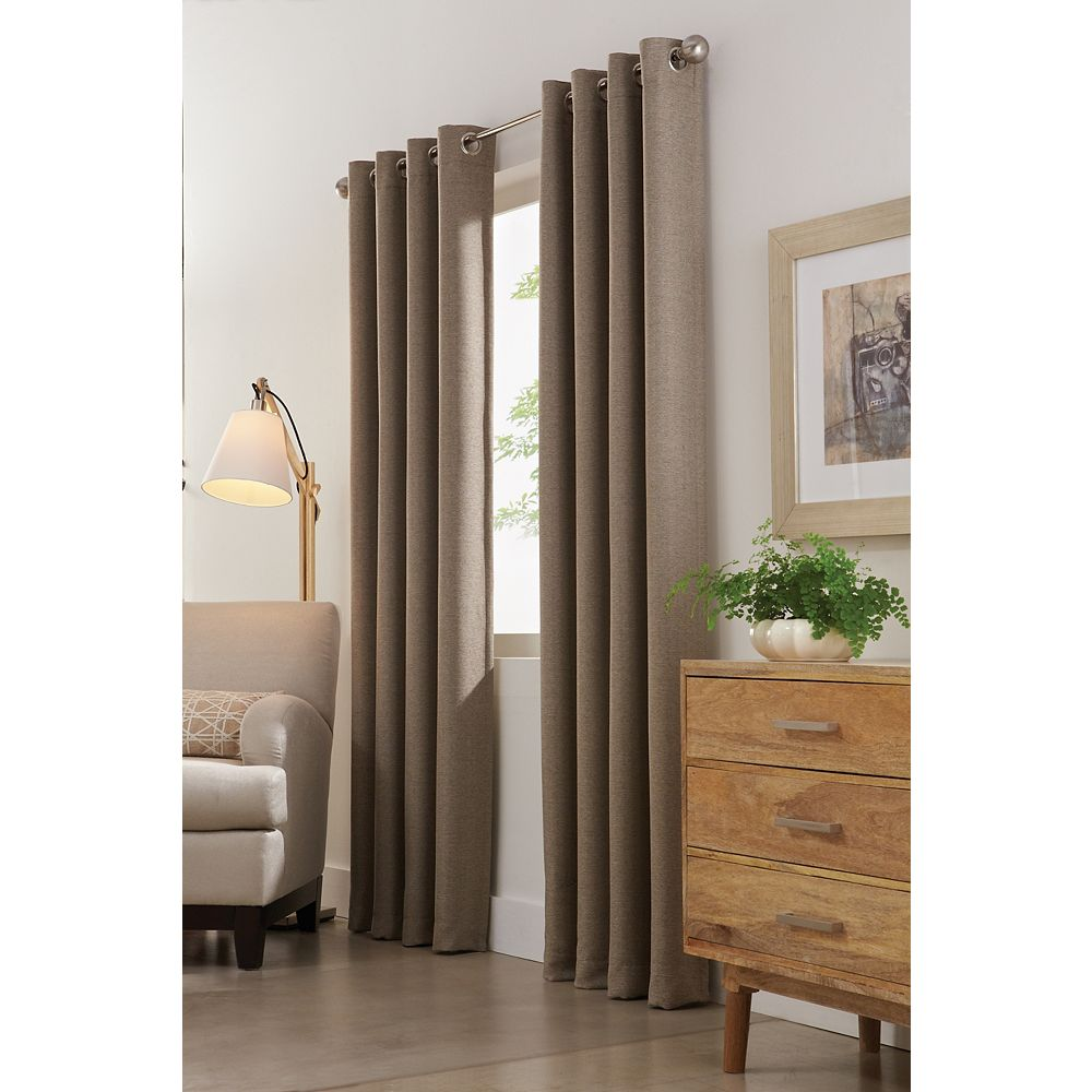 Home Decorators Collection Mushroom Polyester Herringbone Curtain - 54-inch x 84-inch with Grommets in Brushed Silver