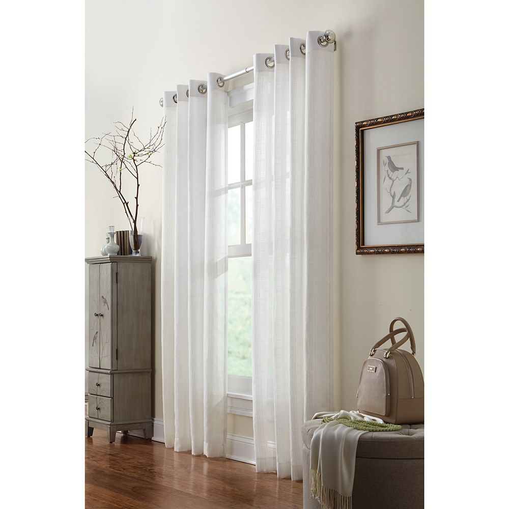 Home Decorators Collection Stephon Sheer Vertical Stripe Grommet Panel 52in x 84in