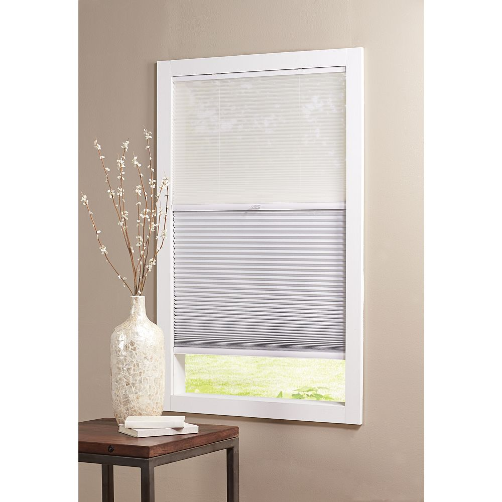 Home Decorators Collection 27-inch W x 48-inch L, 2-in-1 Blackout and Light Filtering Cordless Cellular Shade in White