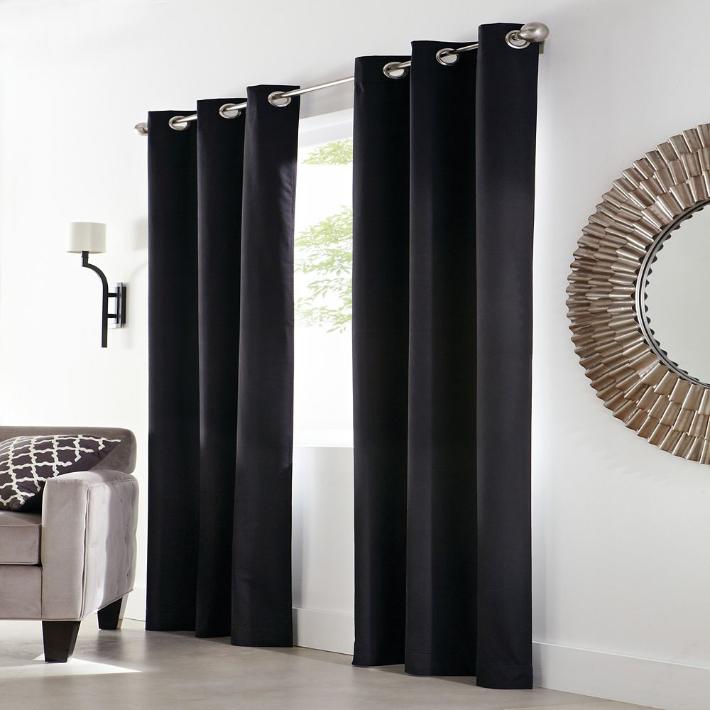 Home Decorators Collection December 100% Blackout Grommet Curtain 40 inches width X 84 inches length, Black