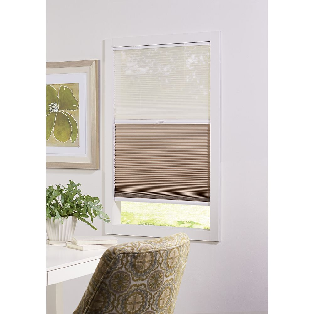 Home Decorators Collection 18-inch W x 72-inch L, 2-in-1 Blackout and Light Filtering Cordless Cellular Shade in White/Tan