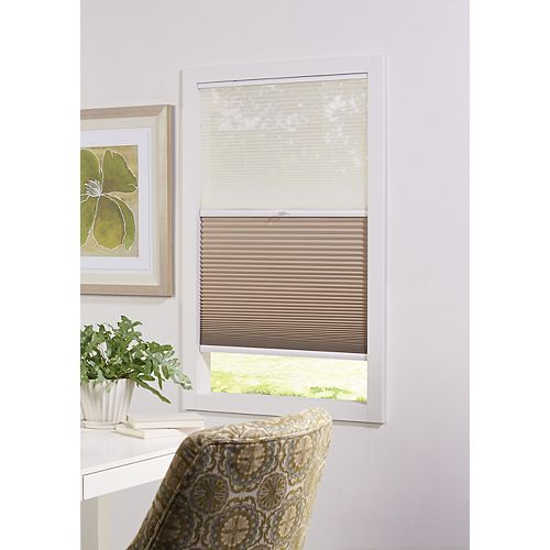 Home Decorators Collection 48-inch W x 72-inch L, 2-in-1 Blackout and Light Filtering Cordless Cellular Shade in White/Tan
