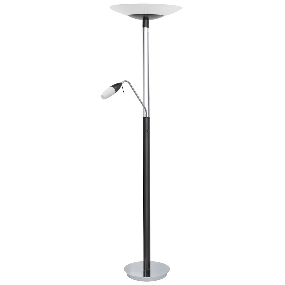 Eglo Turn Floor Lamp With Reading Lamp 2l, Chrome & Black Finish, Opal Frosted Glass