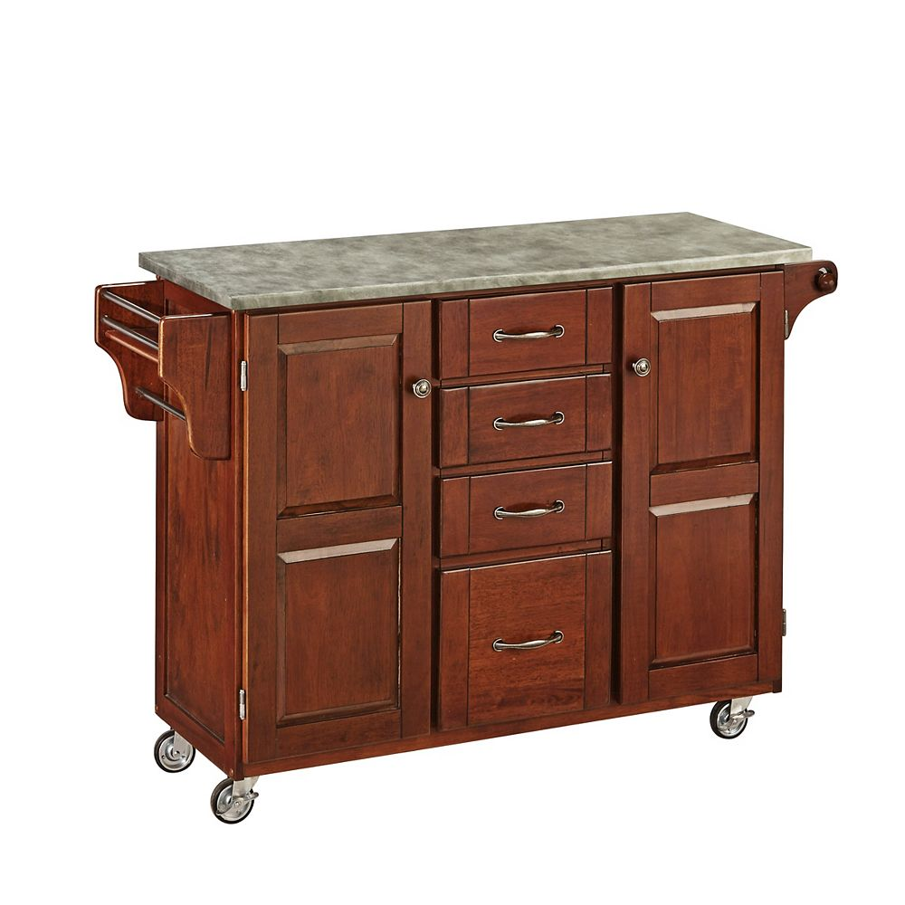 Home Styles Cherry Create-a-Cart with Concrete Top
