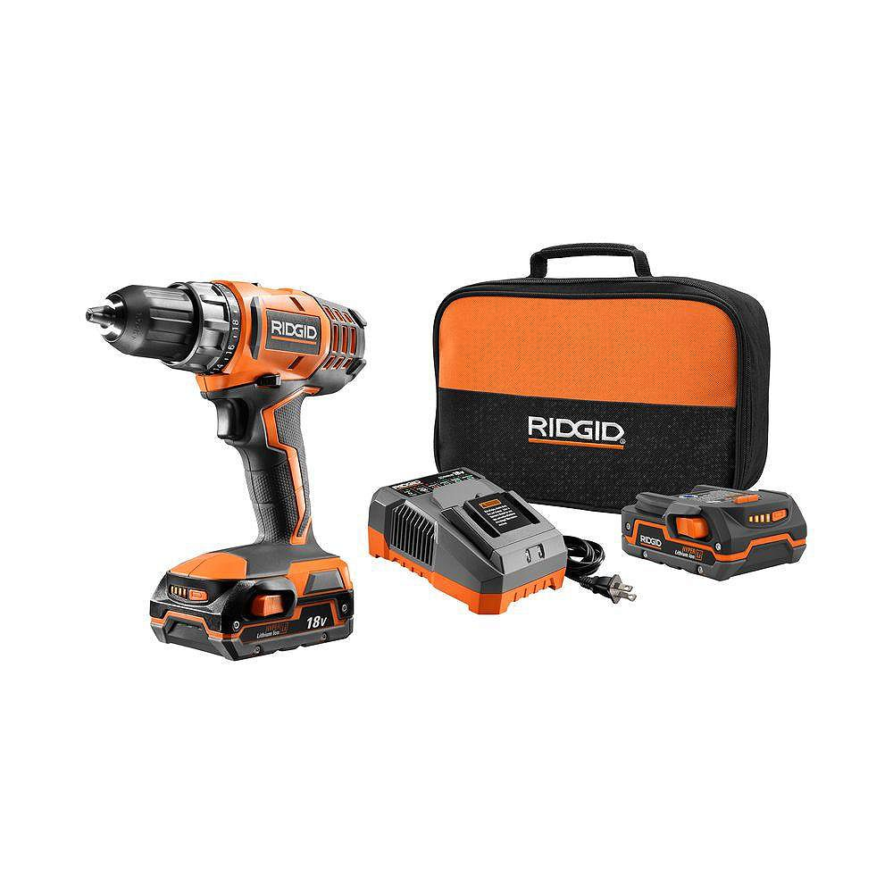 RIDGID 18V Lithium-Ion Cordless 2-Speed 1/2-inch Compact Drill/Driver Kit w/(2) 1.5 Ah Batteries and Charger