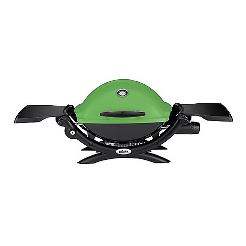 Q 1200 1-Burner Portable Tabletop Propane BBQ in Green with Built-In Thermometer