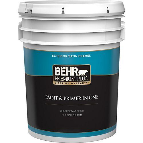 Peinture & apprêt en un - Extérieur émail satiné - Base foncée, 18,9 L