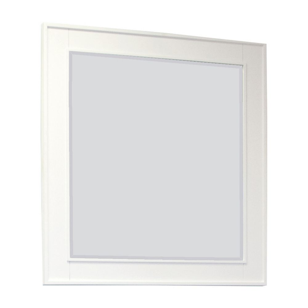 American Imaginations 32 In. W x 34 In. H Transitional Birch Wood-Veneer Wood Mirror In White Finish