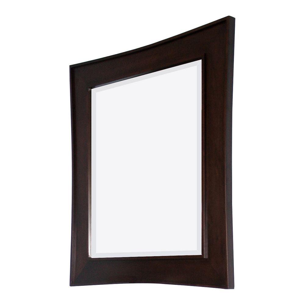 American Imaginations 32 In. W x 36 In. H Transitional Birch Wood-Veneer Wood Mirror In Walnut Finish