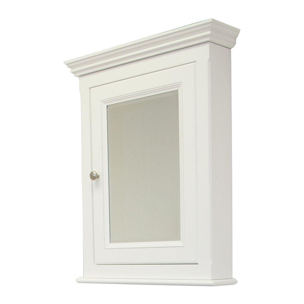 American Imaginations 24 po W x 30 po. H traditionnelle Birch Wood-Placage Cabinet de médecine Dans fini blanc
