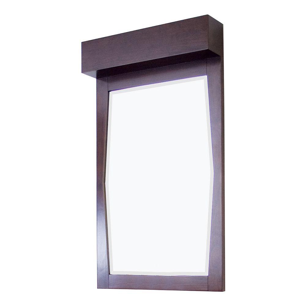 American Imaginations 23 In. W x 36 In. H Transitional Birch Wood-Veneer Wood Mirror In Walnut Finish