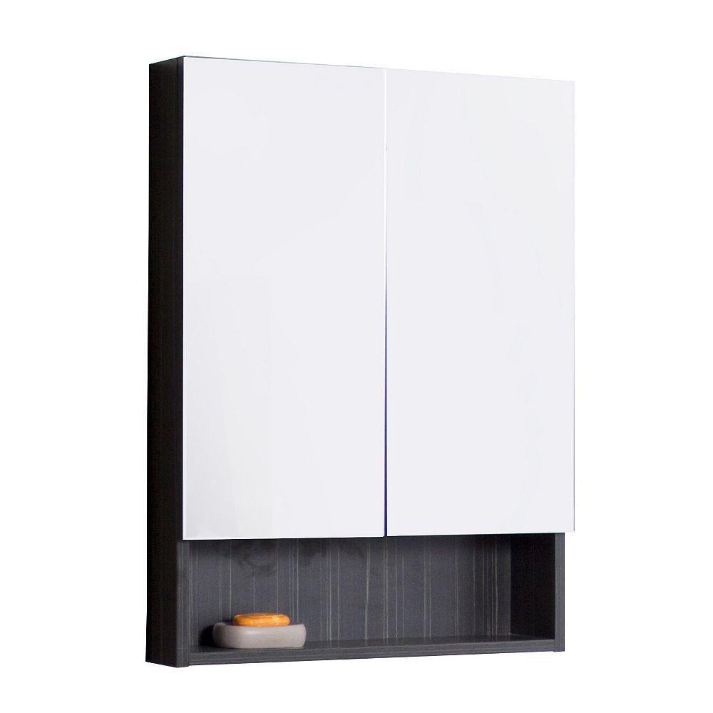 American Imaginations 24 po W x 32 po. H Modern Plywood-mélamine Armoire à pharmacie En Aube finition grise