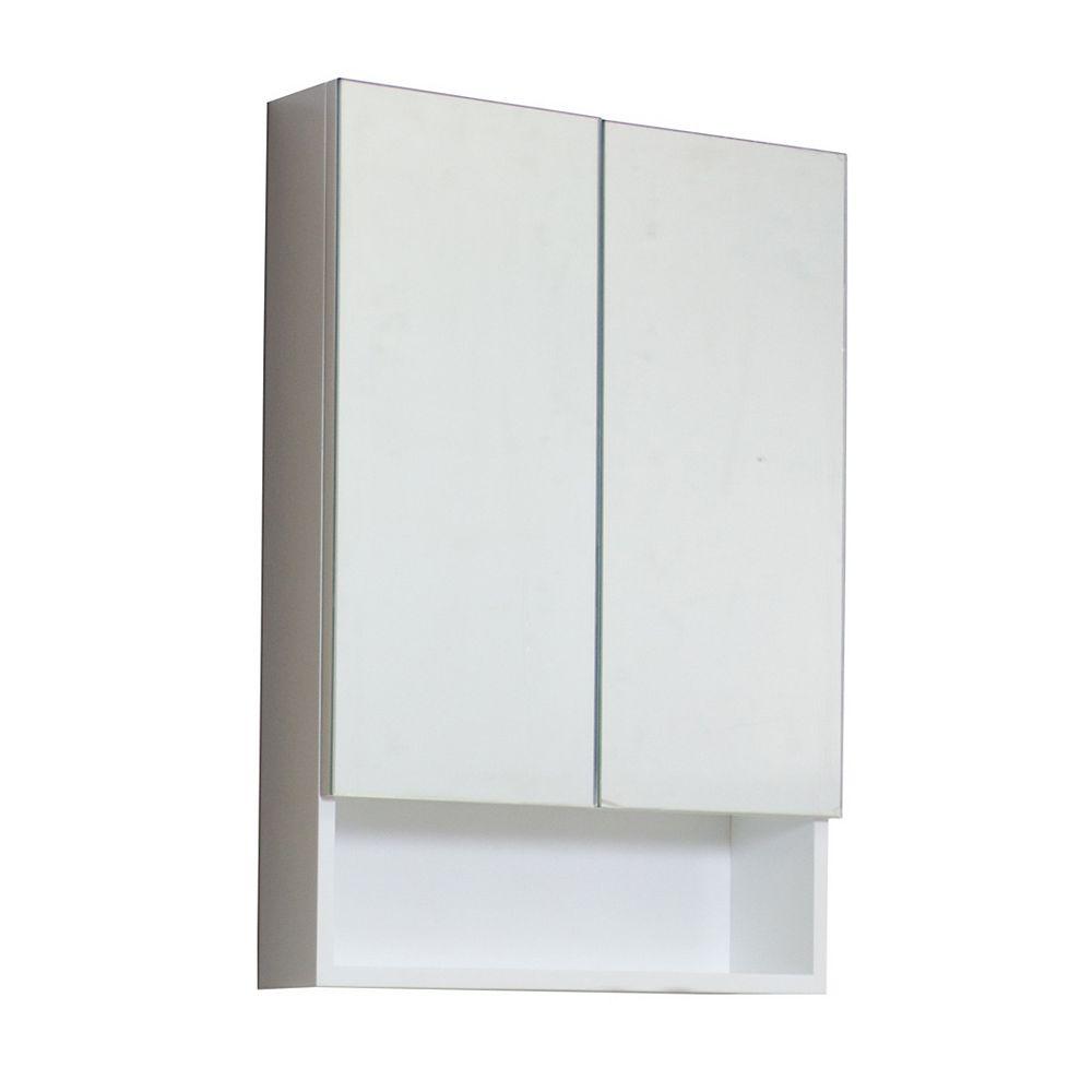 American Imaginations 24 po W x 32 po. H Modern Plywood-mélamine Armoire à pharmacie En fini blanc