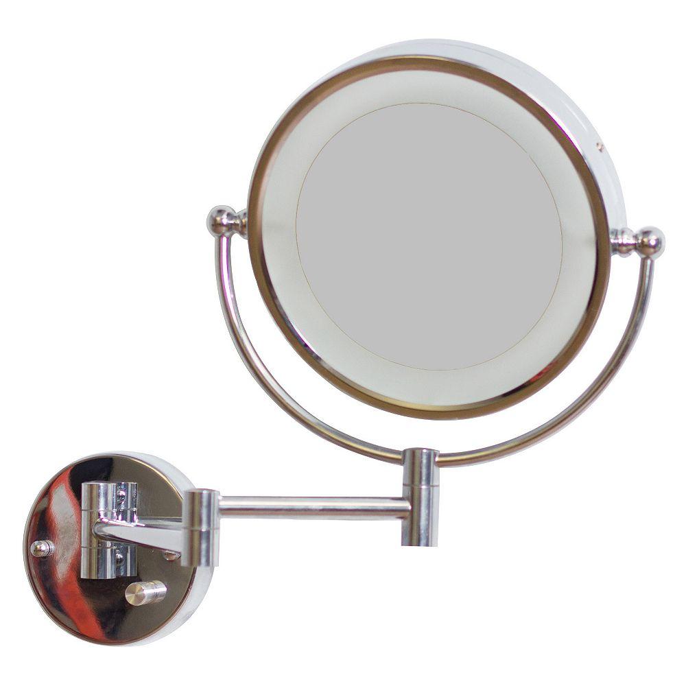 American Imaginations 8.5 po W miroir rond LED avec variateur de lumière et double 1x / 5x Zoom