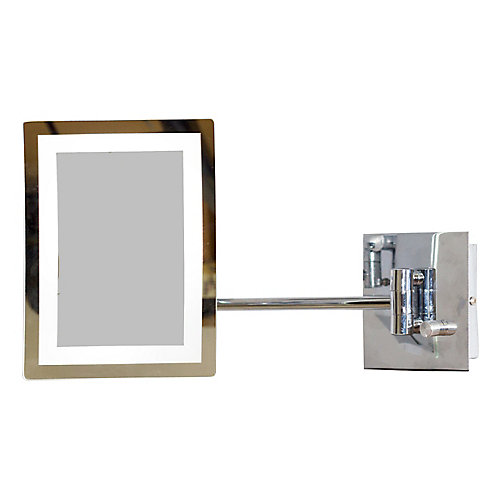 6.25 In. W x 8.5 In. H Rectangle LED Mirror With Light Dimmer And 3x Zoom