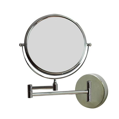 8 po W Round Wall Mount Chrome Miroir grossissant de maquillage avec double 1x / 5x Zoom