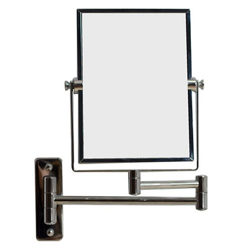 5 po W x 13 po. H Rectangle Wall Mount Chrome Miroir grossissant de maquillage avec double 1x / 5x Zoom
