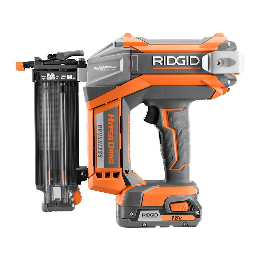 RIDGID HYPERDRIVE 18V 18-Gauge 2-1/8 inch Brushless Cordless Brad Nailer