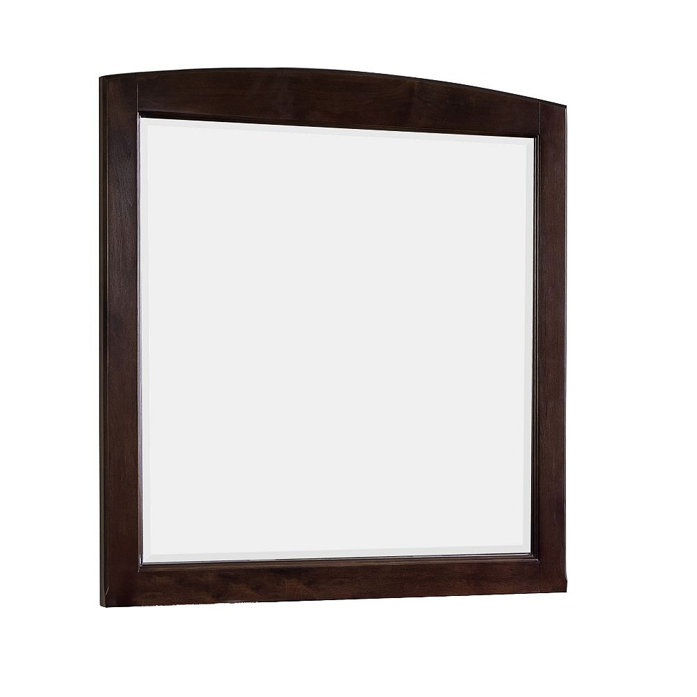 American Imaginations 30 In. W x 32 In. H Rectangle Wood Framed Mirror Without Shelf In Walnut Finish