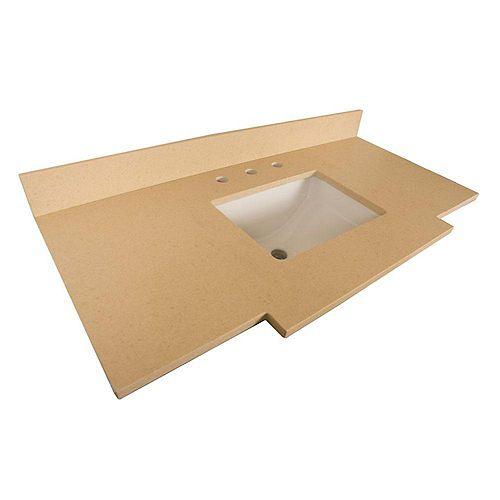 30-Inch W Quartz Vanity Top in Beige with Rectangular Sink