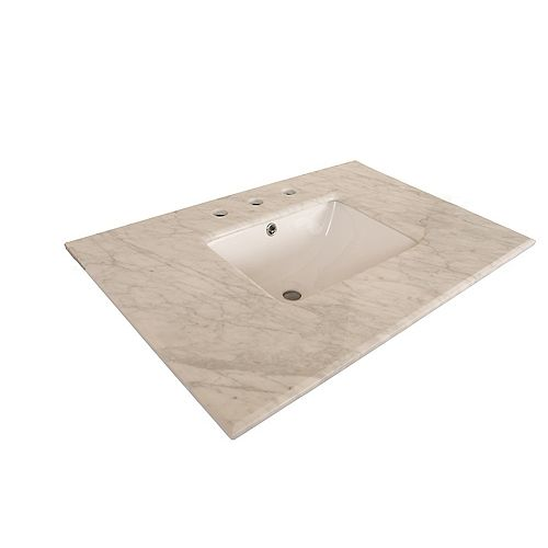 30-Inch W Carrara Marble Vanity Top in White with Rectangular Sink