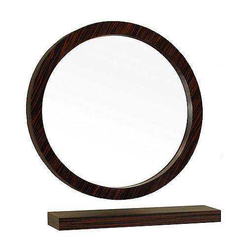 Indianola Miroir en bois ébène/zèbre de 22 po