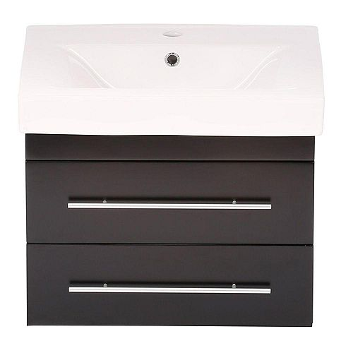 Lyon S 25-inch W Single Vanity in Black with Porcelain Vanity Top in White