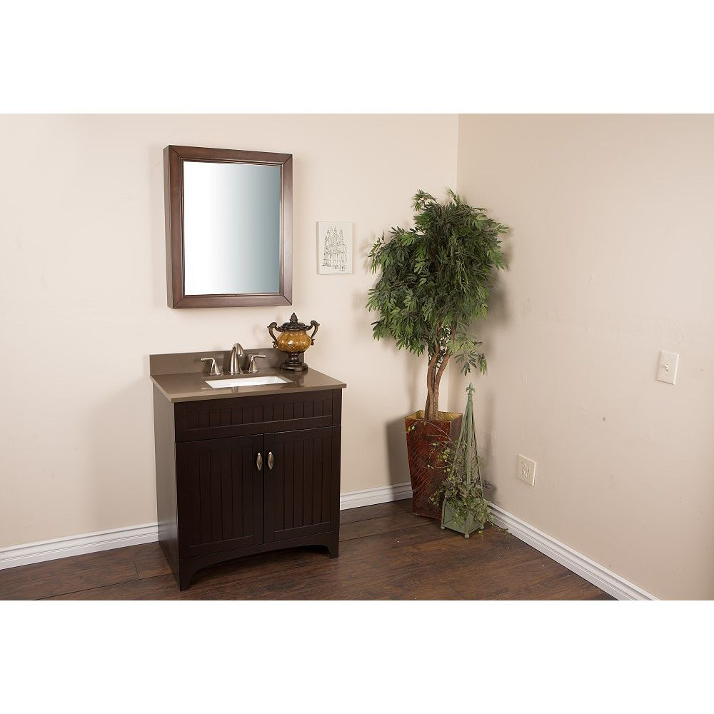 Bellaterra 32-inch W 2-Door Freestanding Vanity in Brown With Engineered Stone Top in Brown