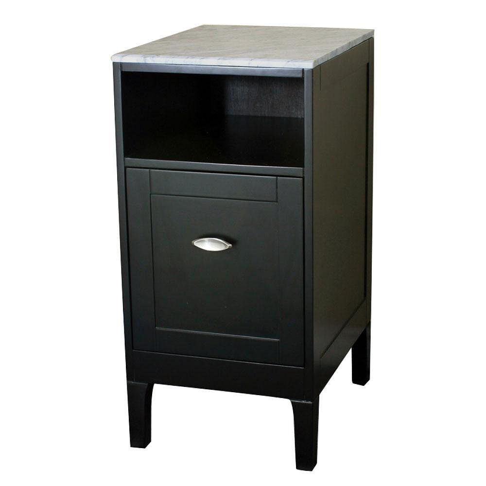Bellaterra 16 In. Cabinet in Espresso with Marble Top in White