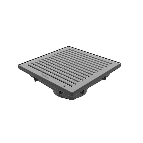 9 in. Square Low Profile Drainage Catch Basin with Grey Grate