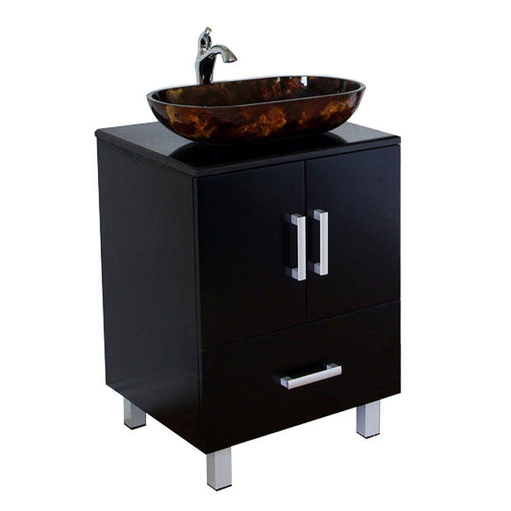 Bellaterra Essen 22-inch W 1-Drawer 2-Door Freestanding Vanity in Black With Marble Top in Black
