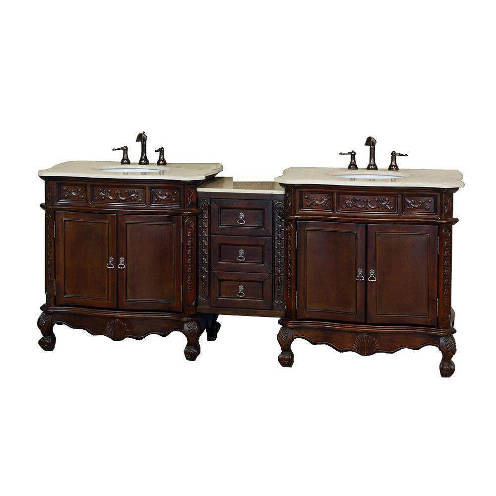 Bellaterra Ashby 82.70-inch W 3-Drawer 4-Door Vanity in Brown With Marble Top in Beige Tan, Double Basins