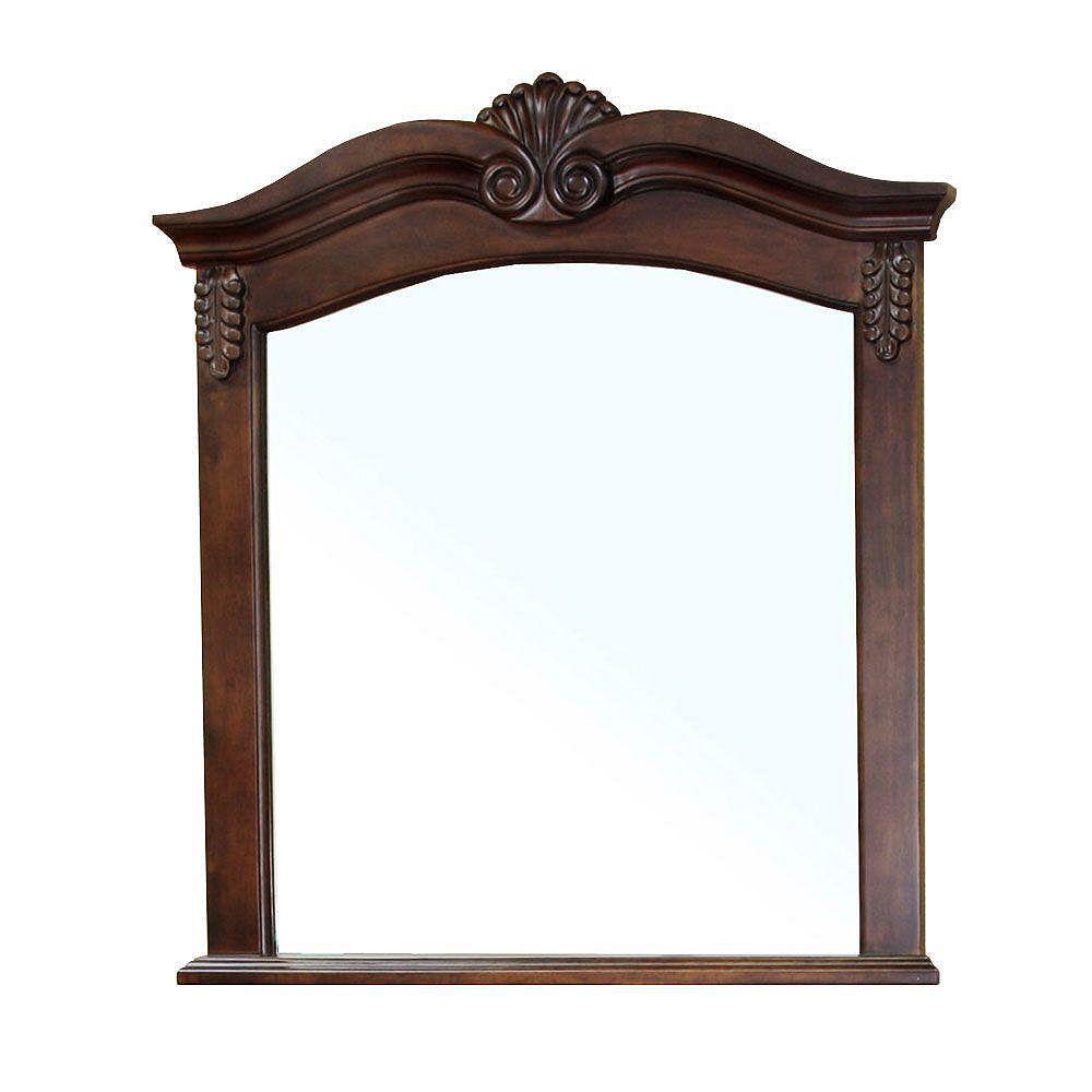 Bellaterra Ashby 38-6/10 In. L X 33-1/2 In. W Wall Mirror in Walnut