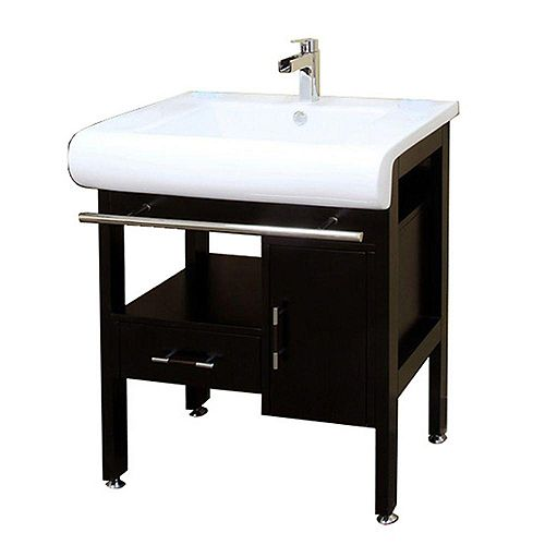 Belgrade 28-inch W x 22-inch D Single Sink Wood Vanity in Dark Espresso with Porcelain Top in White
