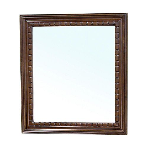 Bellaterra Dalton 32 In. L X 36 In. W Solid Wood Frame Wall Mirror in Medium Walnut