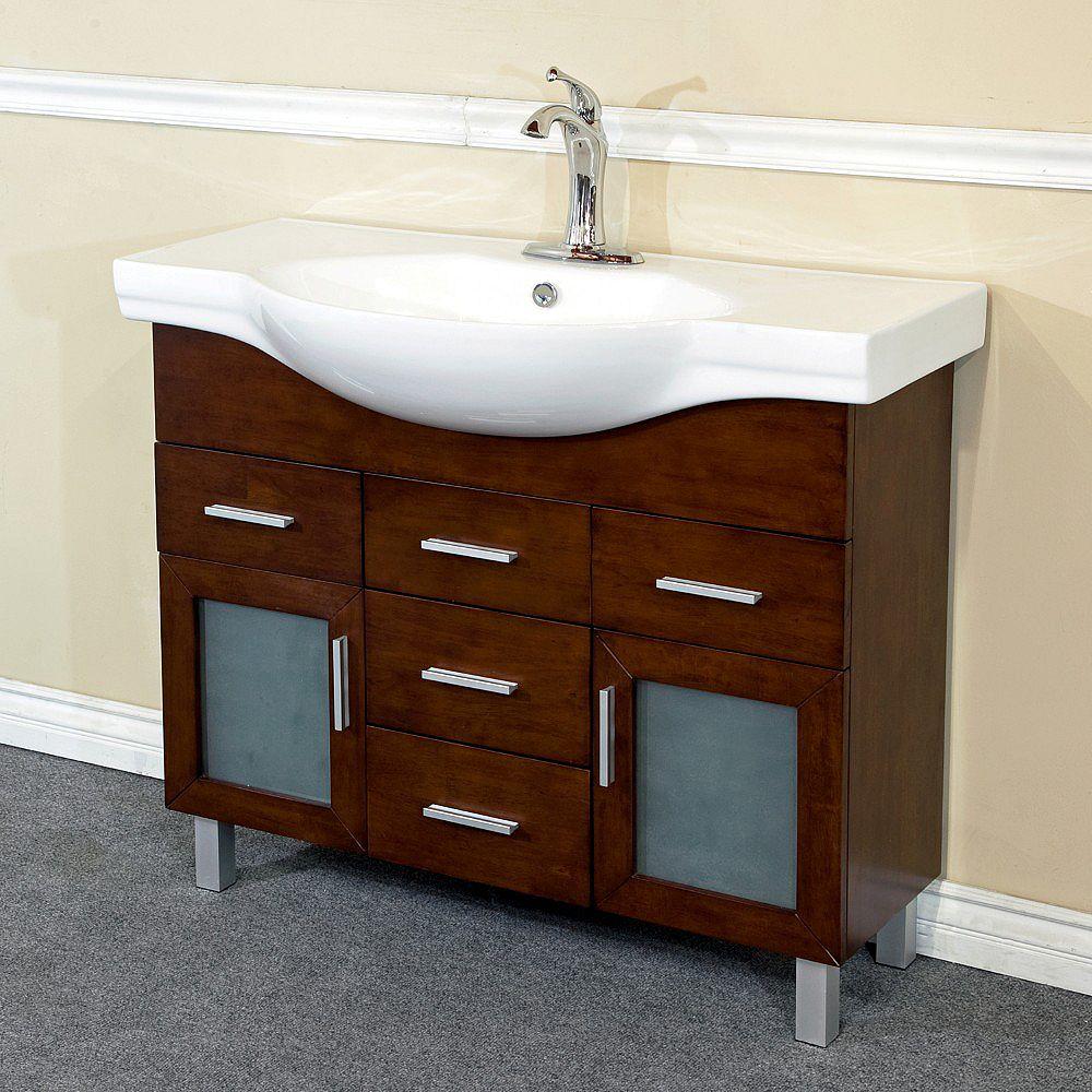 Bellaterra 39.80-inch W 4-Drawer 2-Door Freestanding Vanity in Brown With Ceramic Top in White