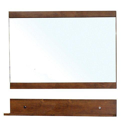 Bellaterra Charles 34 In. L X 40 In. W Wall Mirror in Walnut